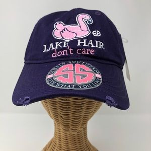 Simply Southern Hat Lake Hair Don't Care Flamingo